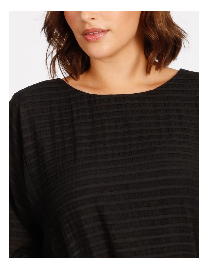 Etched Magyar 3/4 Sleeve Sheer Top With Body Lining image 4