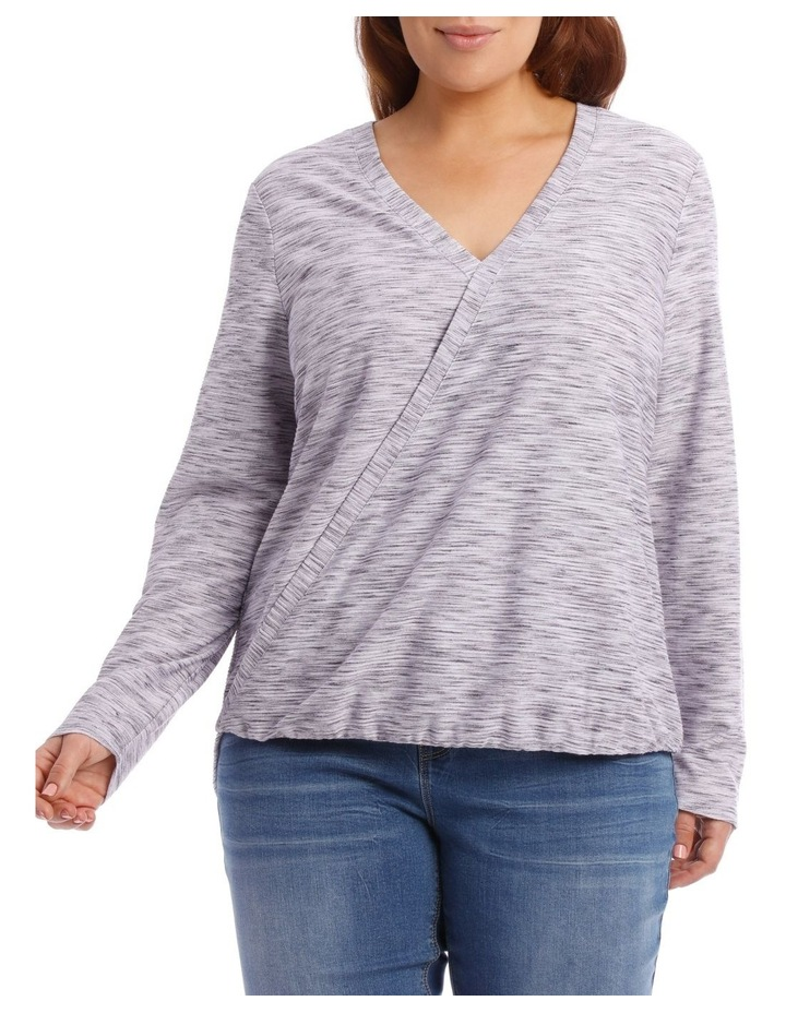 Wrap Front Textured Long Sleeve Tee image 1