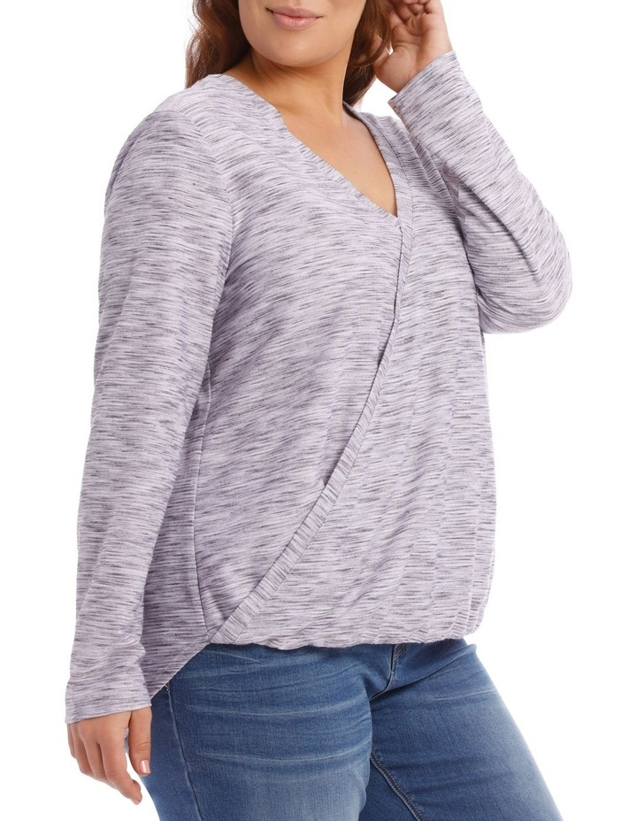 Wrap Front Textured Long Sleeve Tee image 2