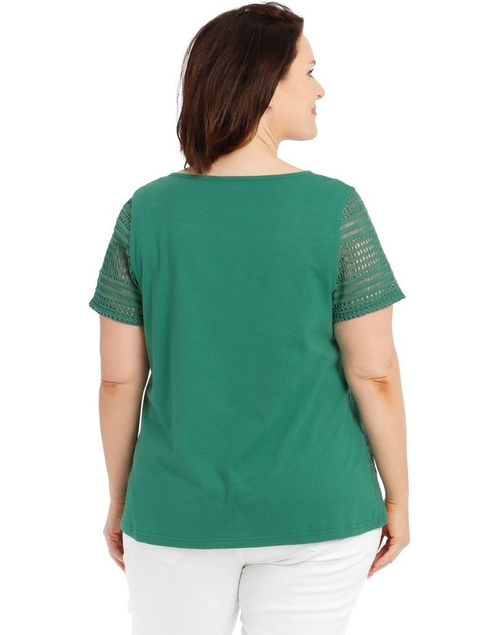 Woven Front Short-Sleeve Knit Back Top With Lace Sleeves image 3