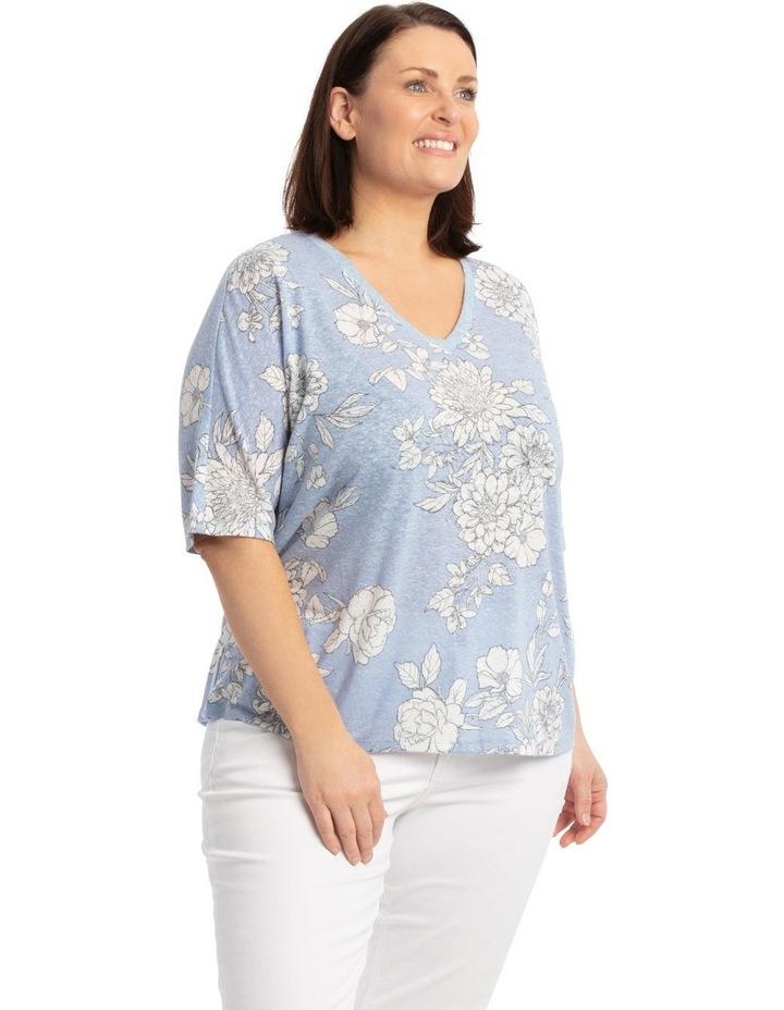 Short Sleeve Extended Shoulder Linen Blend Tee image 2