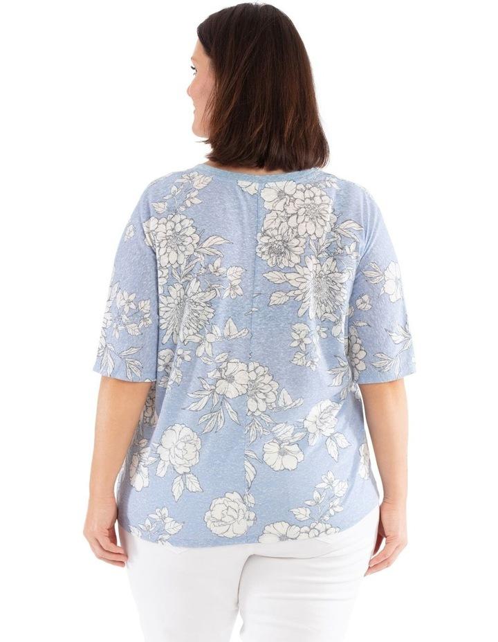 Short Sleeve Extended Shoulder Linen Blend Tee image 3