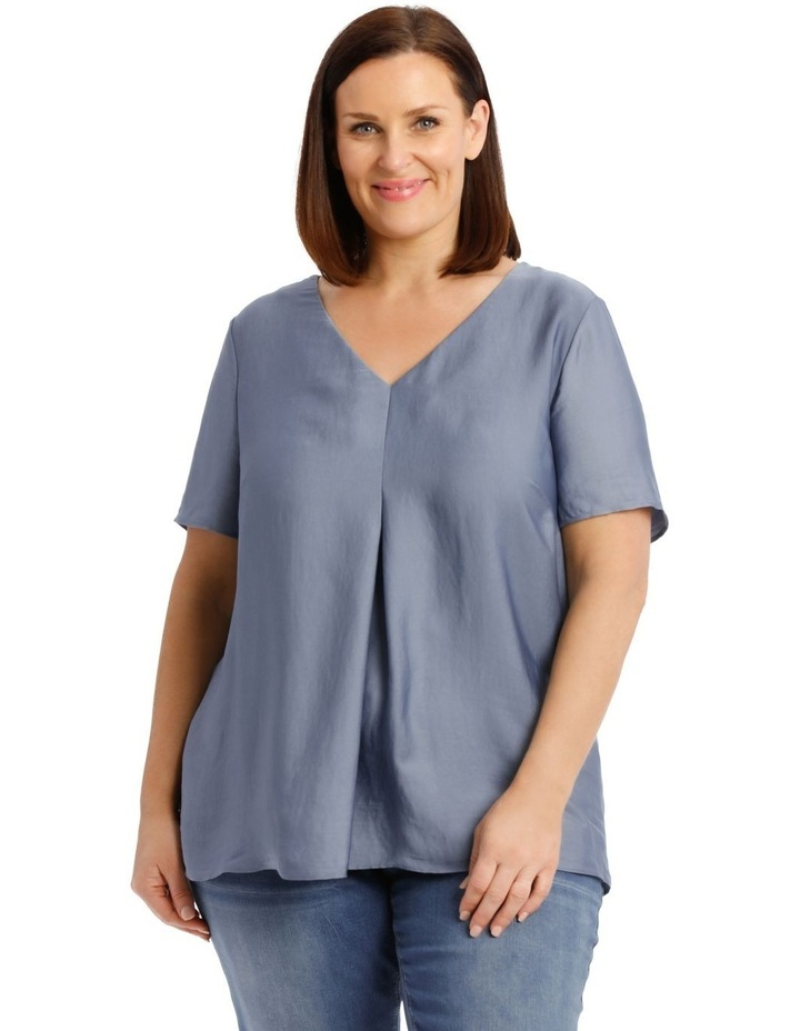 Short Sleeve Bruised Poly Front/Knit Back Tee-China Blue image 1