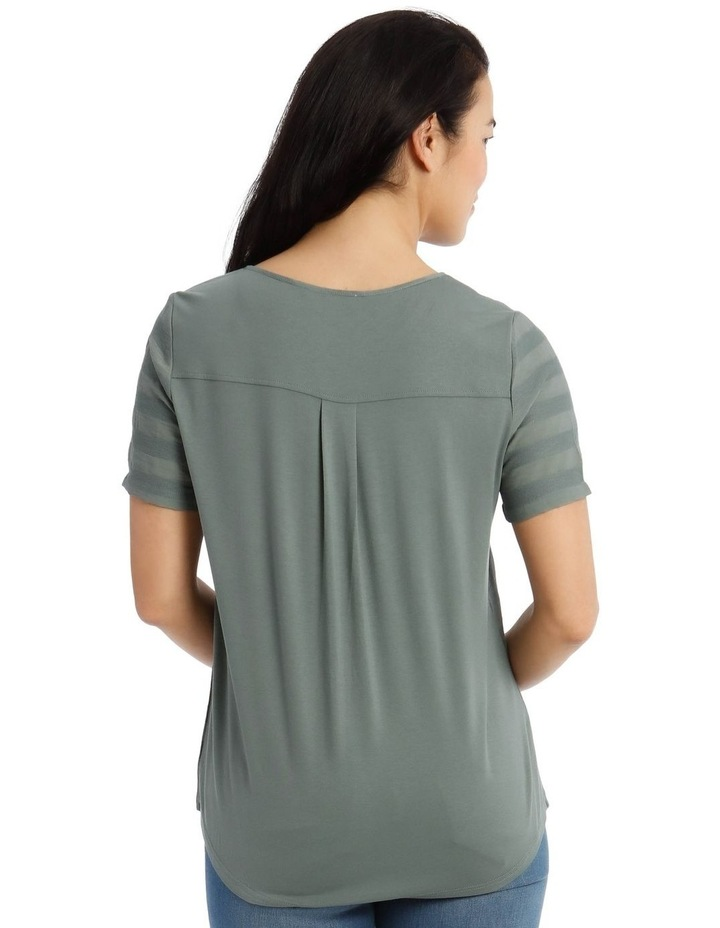 Textured Woven Front/S/S Ring Neck Tee-Cyprus image 3