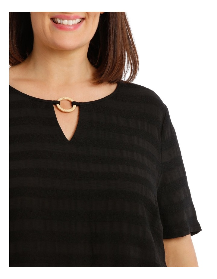 Textured Woven Front Short Sleeve Ring Neck Tee image 4