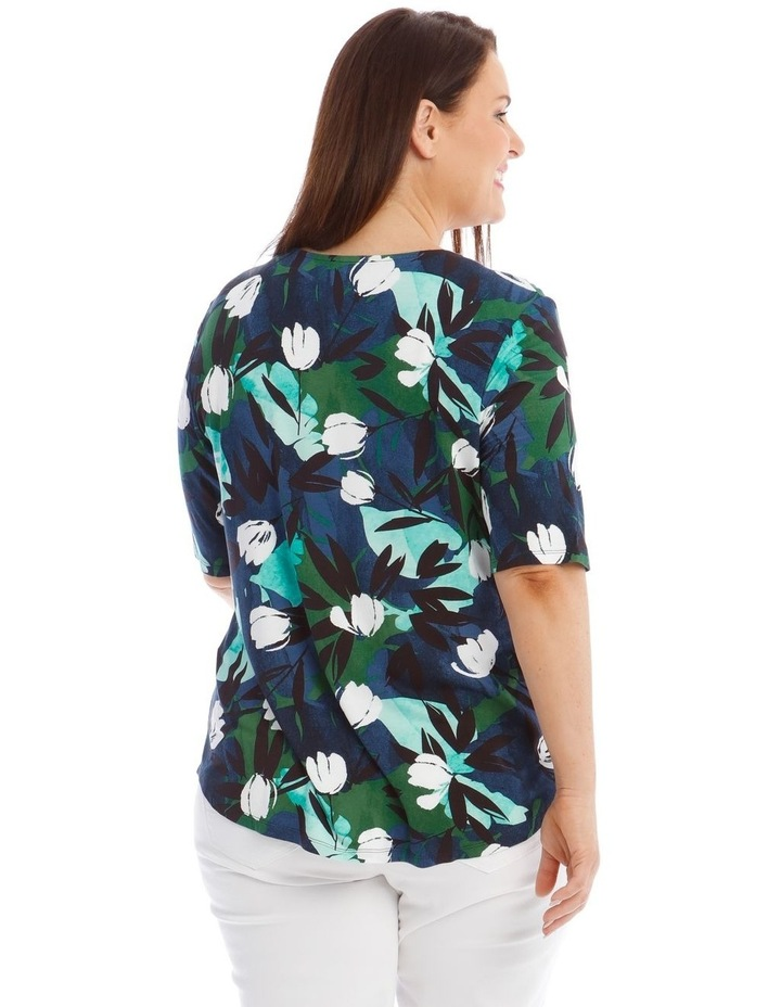 Pleat-Front Floral Shirt in Blue image 3