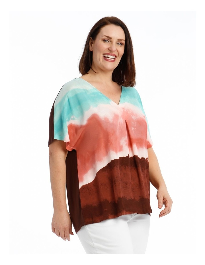 Extended Sleeve Inverted Pleat Knit/Woven Tee image 2