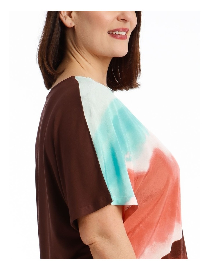 Extended Sleeve Inverted Pleat Knit/Woven Tee image 4