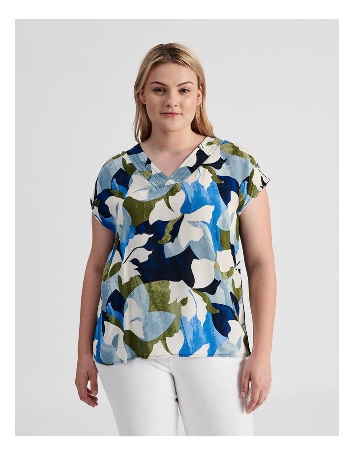 Extended Short Sleeve V-Neck Woven Front Tee-Navy/Cobalt Floral image 1