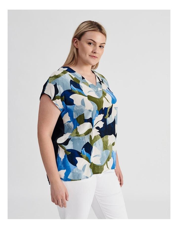 Extended Short Sleeve V-Neck Woven Front Tee-Navy/Cobalt Floral image 2