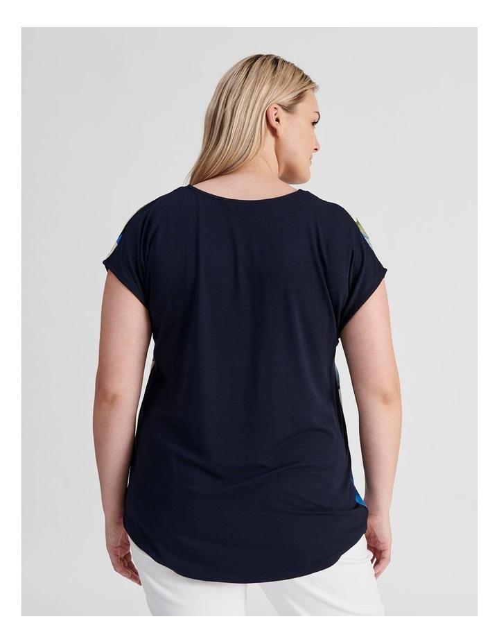 Extended Short Sleeve V-Neck Woven Front Tee-Navy/Cobalt Floral image 3