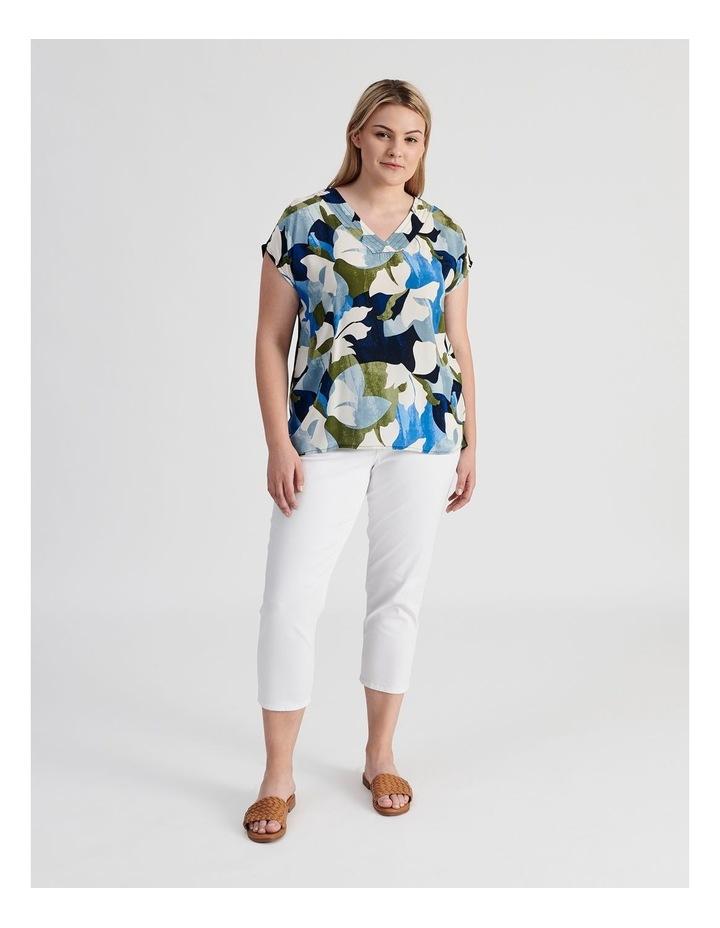 Extended Short Sleeve V-Neck Woven Front Tee-Navy/Cobalt Floral image 4