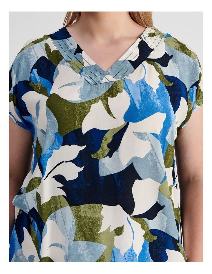 Extended Short Sleeve V-Neck Woven Front Tee-Navy/Cobalt Floral image 5