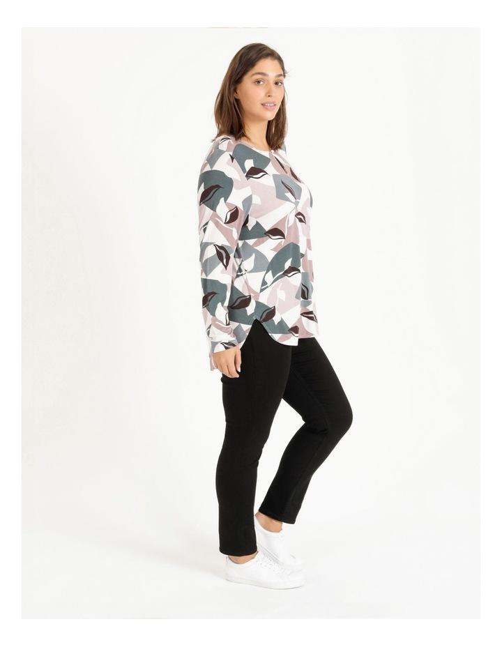 Pillar & Pine Curved Hem Long Sleeve Tee With Button Neck image 3