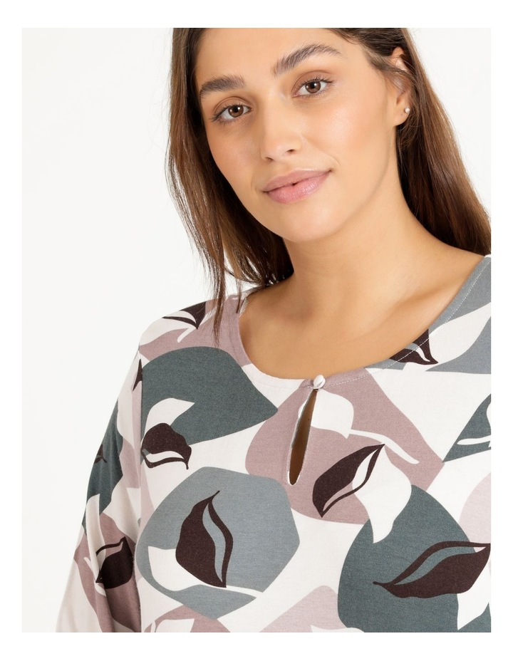 Pillar & Pine Curved Hem Long Sleeve Tee With Button Neck image 5