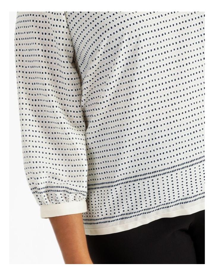 Raglan 3/4 Sleeve Woven Front Knit Back Border Print Tee image 6