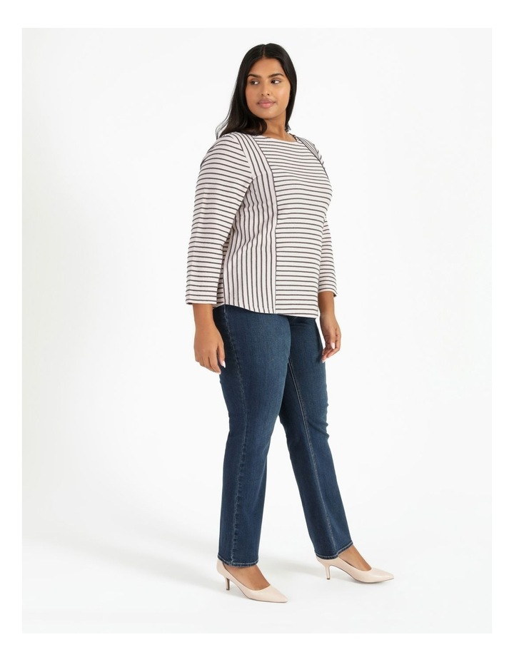 Horizontal And Vertical Stripe 3/4 Sleeve Tee image 2