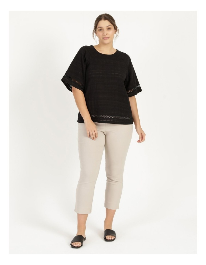 Raglan Short Sleeve Woven Front Knit Back Lace Trim Tee image 1
