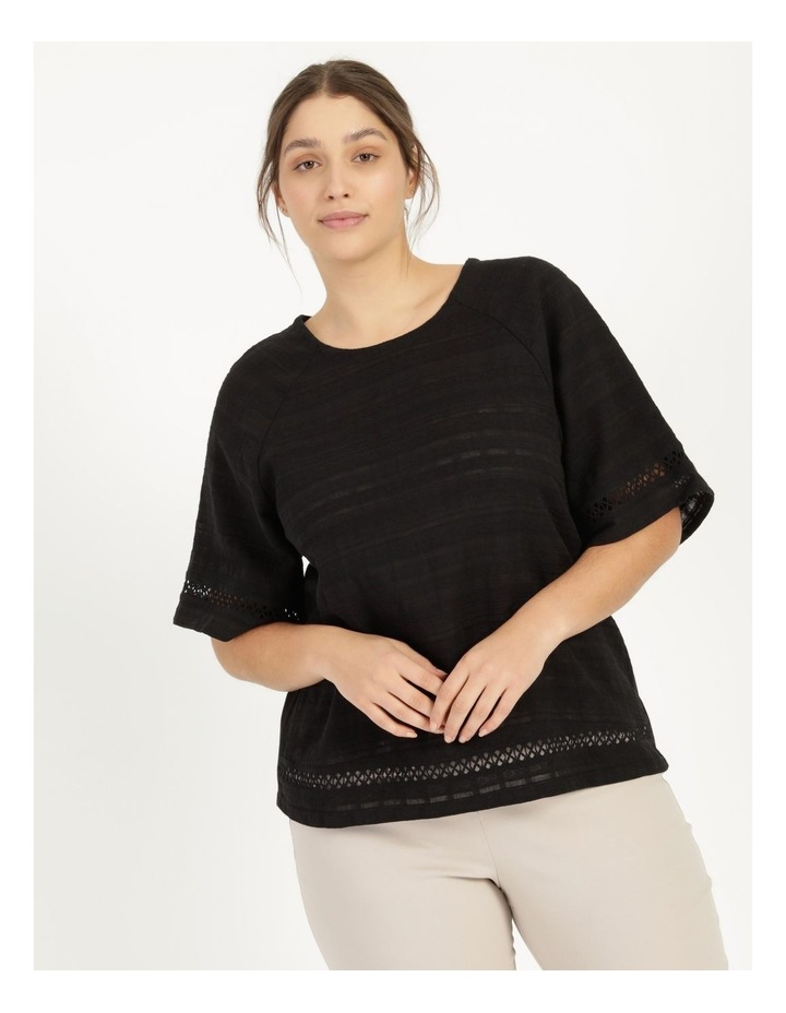 Raglan Short Sleeve Woven Front Knit Back Lace Trim Tee image 2