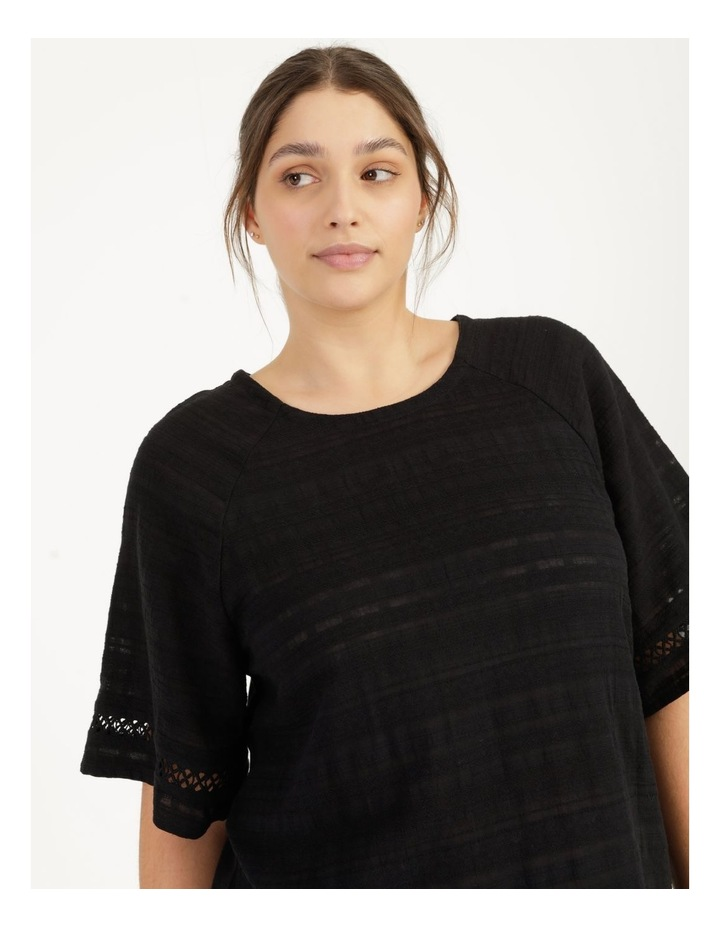 Raglan Short Sleeve Woven Front Knit Back Lace Trim Tee image 5