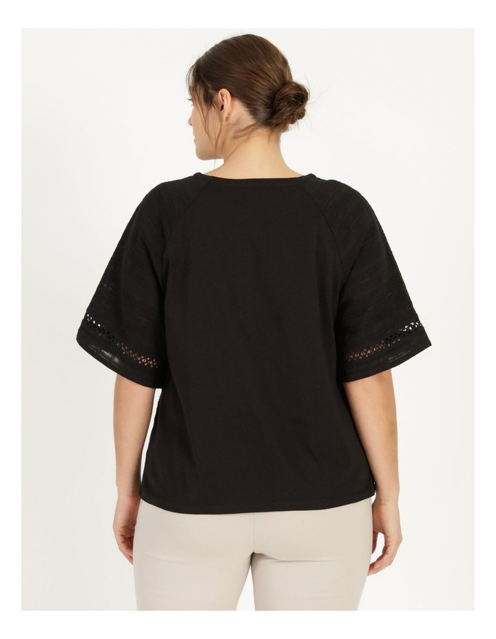 Raglan Short Sleeve Woven Front Knit Back Lace Trim Tee image 6