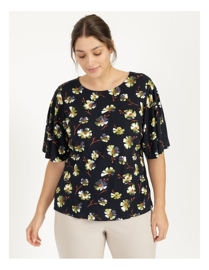 Fluted Short Sleeve Top Tee Navy image 1