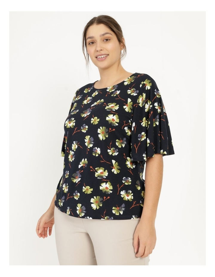 Fluted Short Sleeve Top Tee Navy image 2