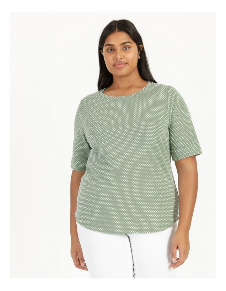 Short Sleeve Tee With Cuff Green/White Spot image 2