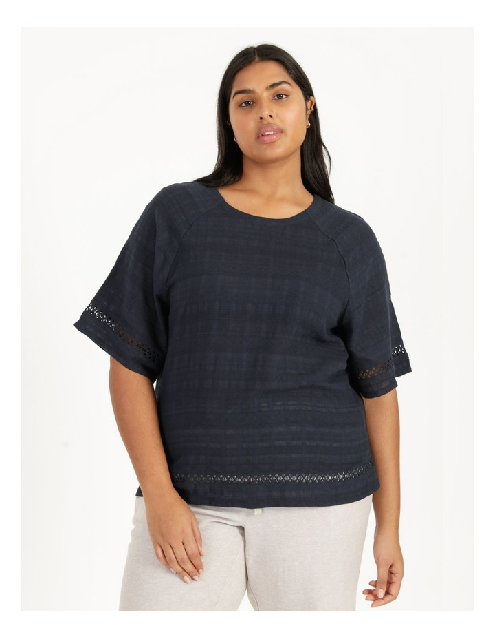 Raglan Short Sleeve Woven Front/Knit Back Lace Trim Tee Navy image 2