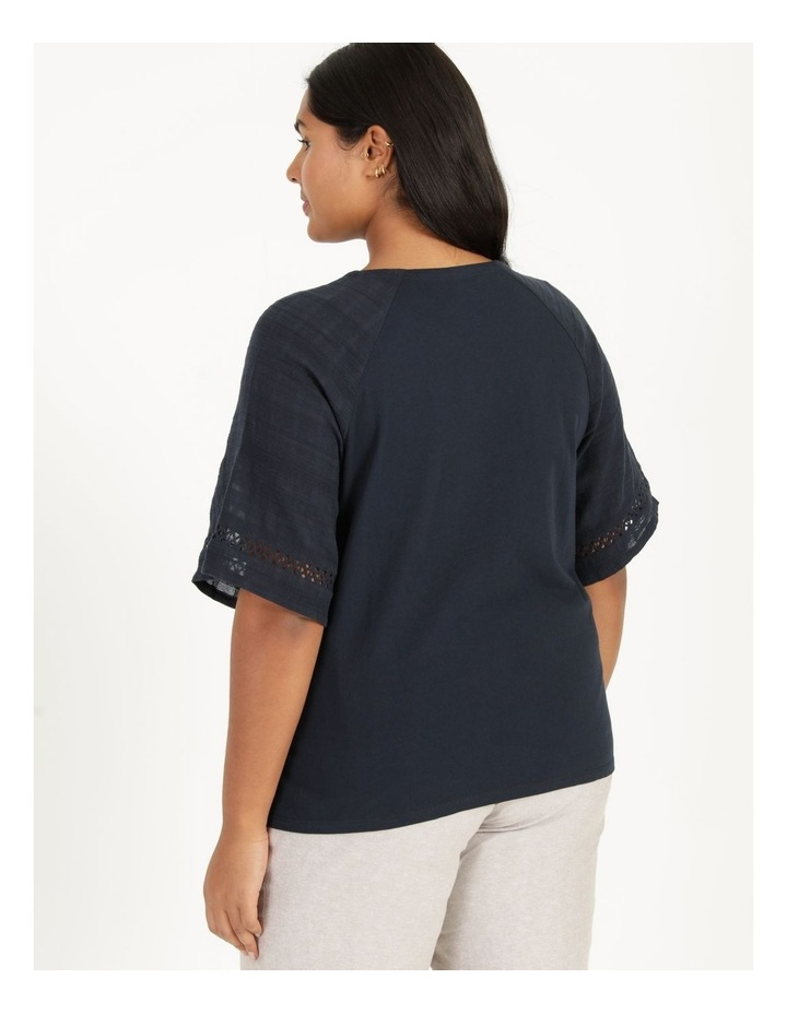 Raglan Short Sleeve Woven Front/Knit Back Lace Trim Tee Navy image 4