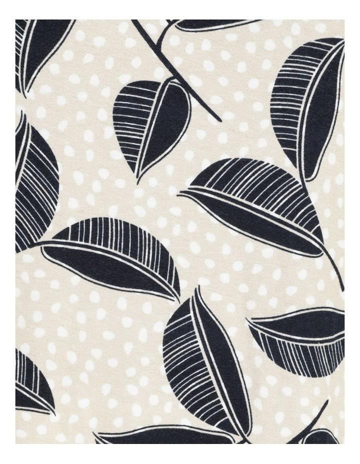 Short Magyar Sleeve Tee With Wide Hem & Side Splits Neutral Spot/Navy Leaf image 7