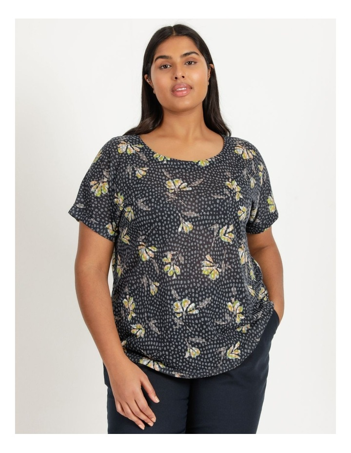 Extended Short Sleeve Burnout Cross Over Back Tee Navy Floral image 1