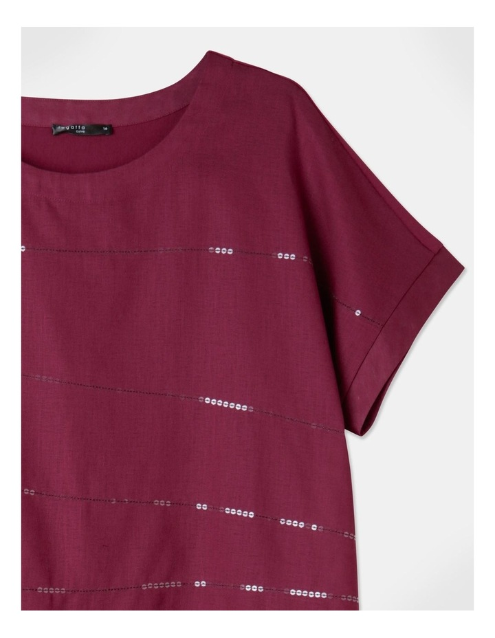 Short Magyar Sleeve Woven Front/Knit Back Tee Cranberry image 2