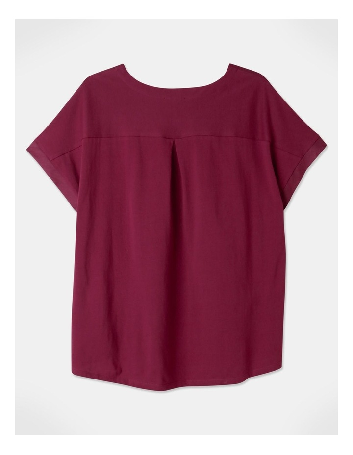Short Magyar Sleeve Woven Front/Knit Back Tee Cranberry image 3