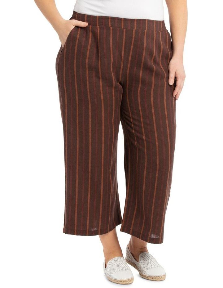 Flat Front Linen Blend Wide Leg Crop Pant image 2