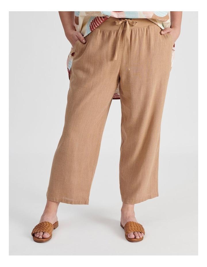 Rib Waist Wide Leg Cropped Pant-Neutral Cross Dye image 1