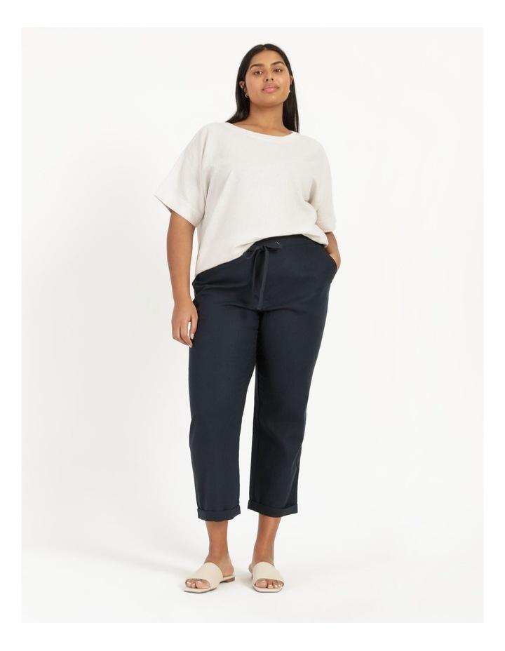 Linen Blend Straight Leg Pant Navy image 1