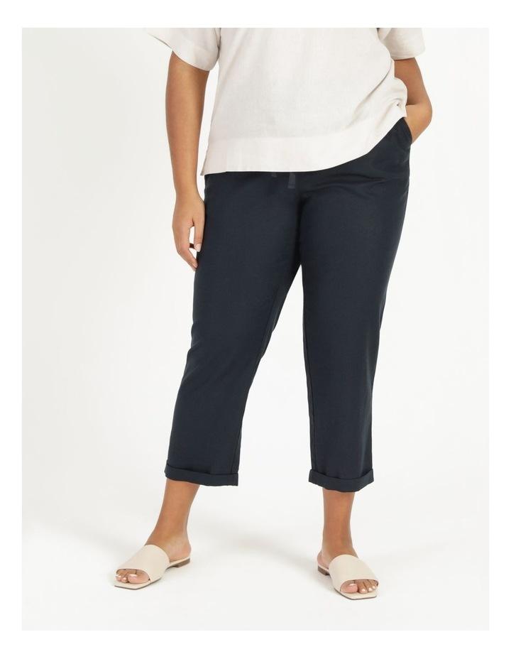 Linen Blend Straight Leg Pant Navy image 2