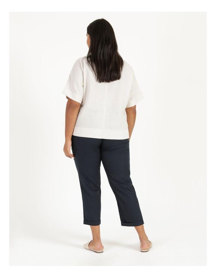Linen Blend Straight Leg Pant Navy image 5