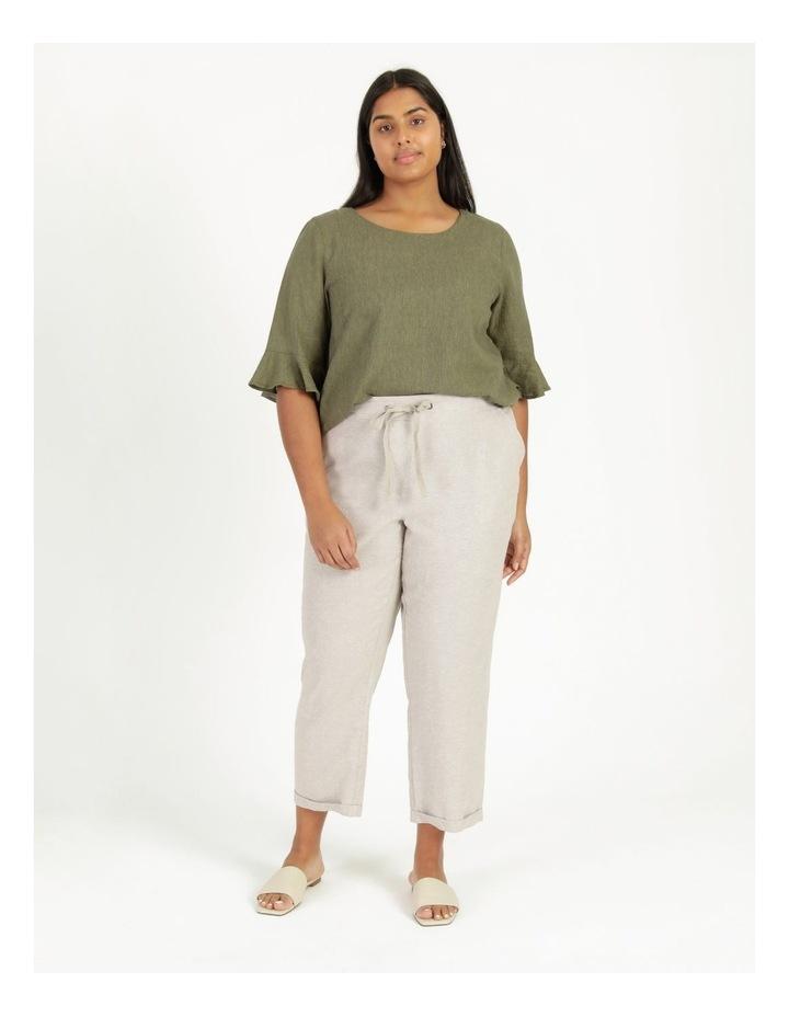 Linen Blend Straight Leg Pant Oatmeal Cross Dye image 3