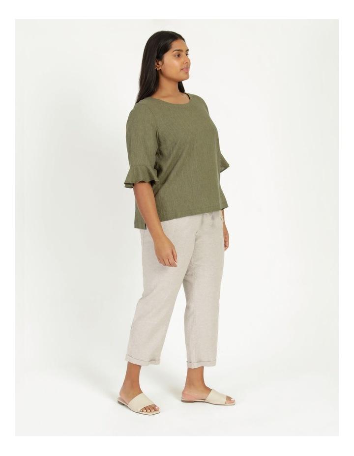 Linen Blend Straight Leg Pant Oatmeal Cross Dye image 4