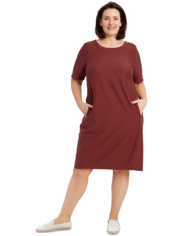 Short Sleeve Knit Dress With Angled Front Seams And Pockets image 1