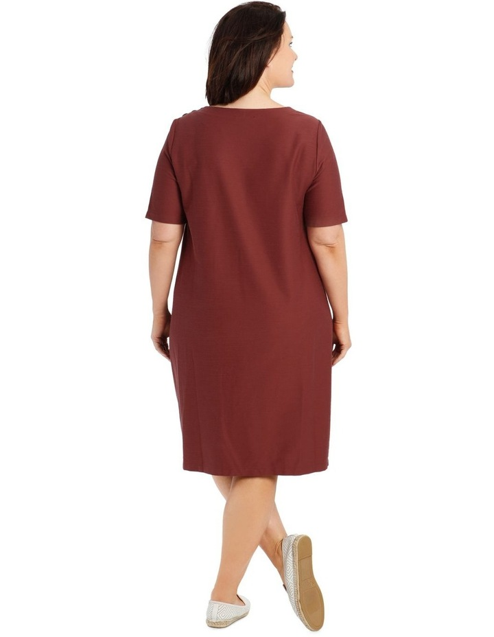Short Sleeve Knit Dress With Angled Front Seams And Pockets image 3