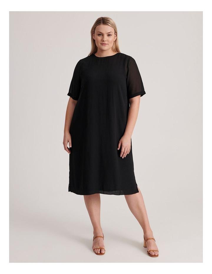 Short Sleeve Sheer Dress With Lining image 1