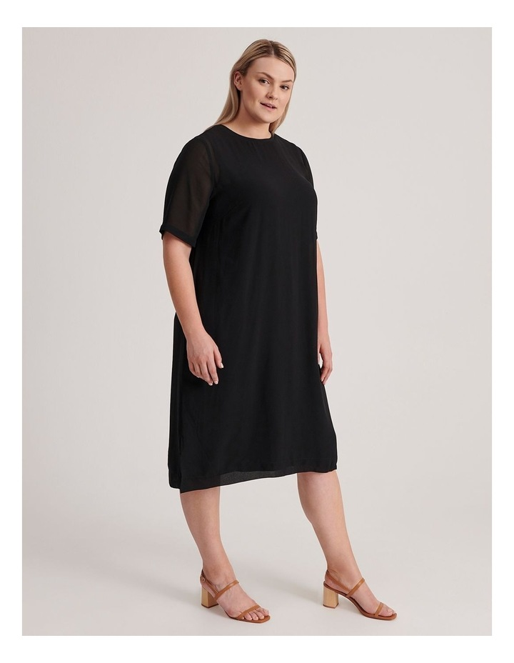 Short Sleeve Sheer Dress With Lining image 2