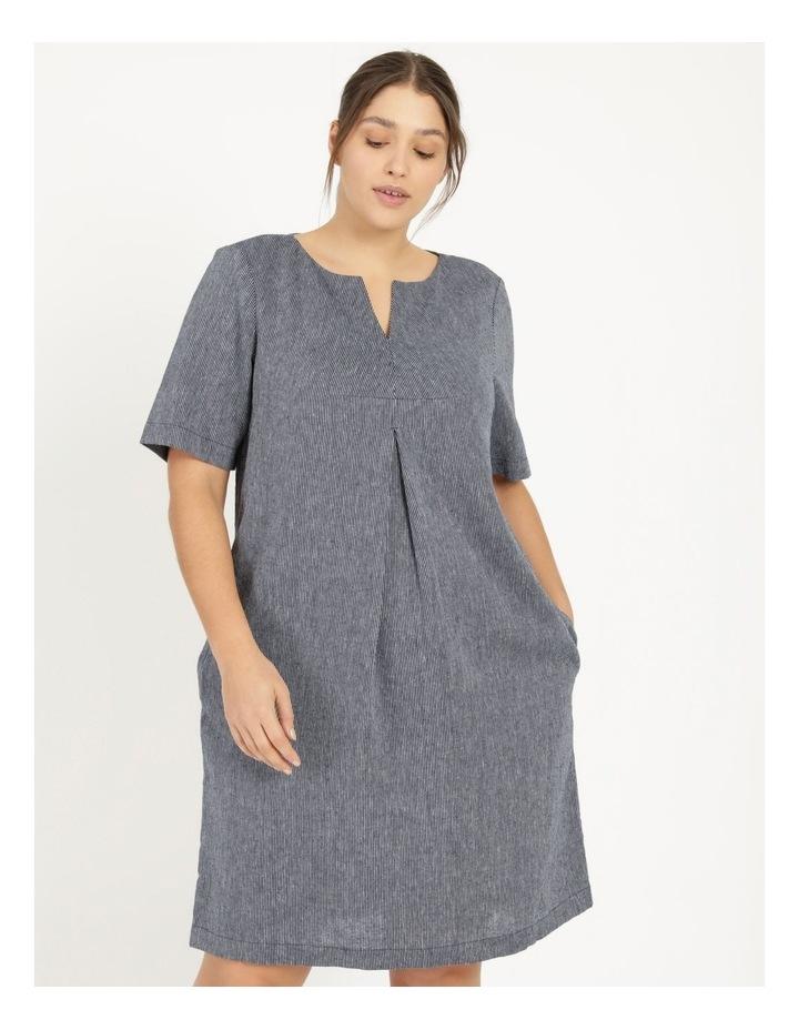 Short Sleeve Split Neck Dress With Front Tuck Navy/White Stripe image 1