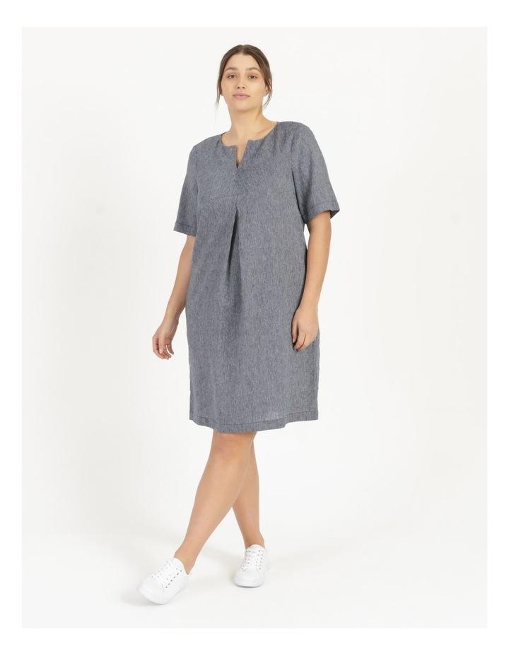 Short Sleeve Split Neck Dress With Front Tuck Navy/White Stripe image 2