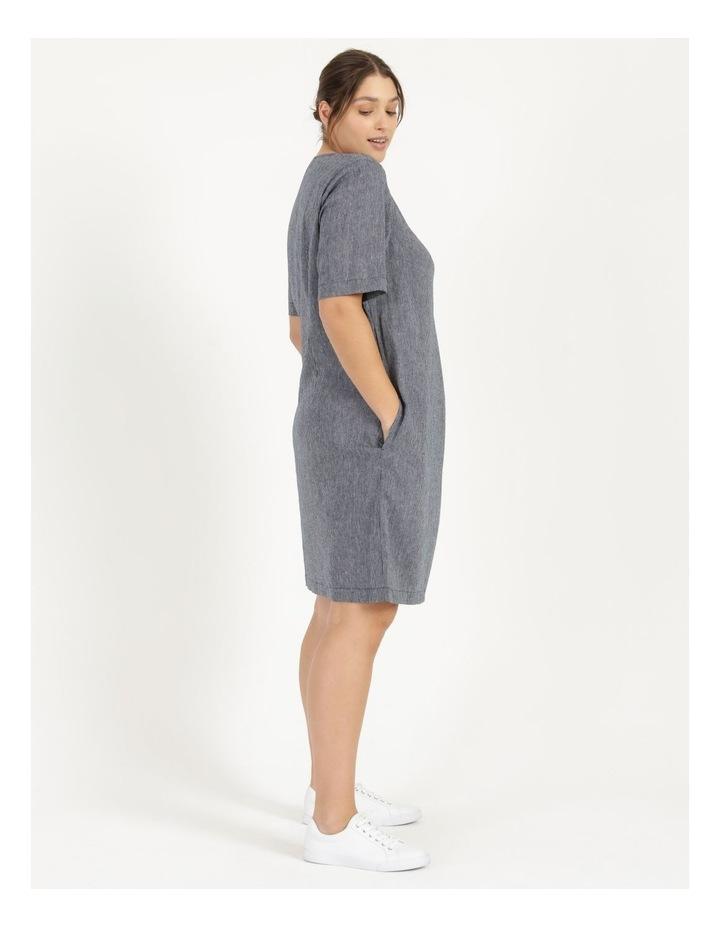Short Sleeve Split Neck Dress With Front Tuck Navy/White Stripe image 3