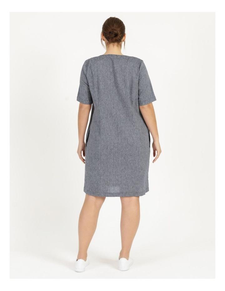Short Sleeve Split Neck Dress With Front Tuck Navy/White Stripe image 4