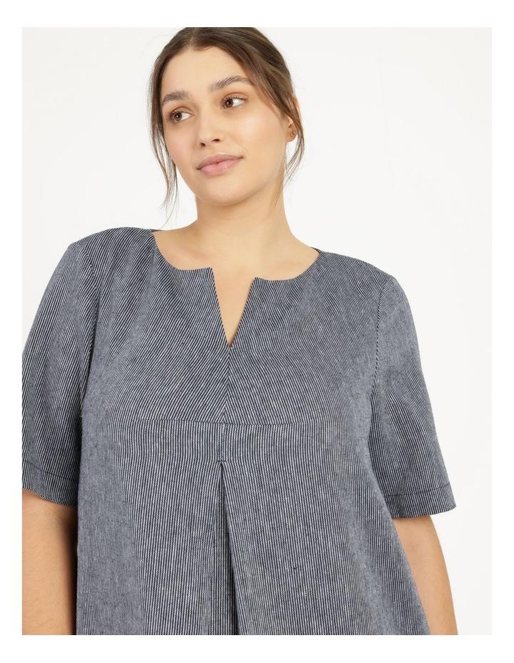 Short Sleeve Split Neck Dress With Front Tuck Navy/White Stripe image 5
